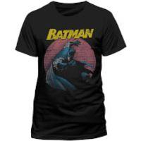 DC Comics Mens Batman Retro Spotlight T-Shirt - Black - L