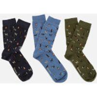 190375476439 - Barbour Men's Dog Motif Socks Gift Box - Multi - M