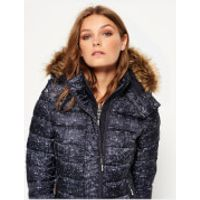 Superdry Womens Printed Fuji Double Zip Hooded Jacket - Navy Grit Print - M