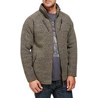 Weird Fish Merlin Plain Zipped Sherpa Lined Tech Soft Knit Fleece Top Olive Night Size L