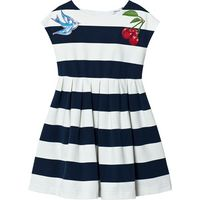 Navy and White Stripe Jersey Dress with Cherry and Bird Applique
