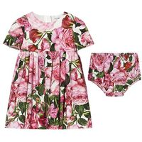 Pink Rose Print Cotton Dress with Briefs