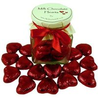 Glass Gift Jar of Chocolate Hearts - Ruby Red