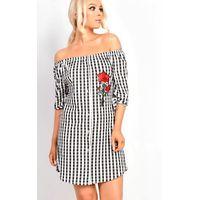 iKrush Gina Gingham Embroidered Bardot Knot Sleeve Dress