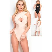 IKRUSH Womens Nieve Cut Out Bandage Bodysuit