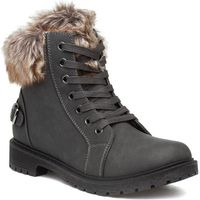 Womens Black Lace Up Ankle Boot with Cleated Sole