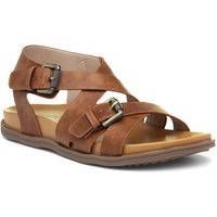 Lilley Womens Black Strappy Sandal with Metal Trim