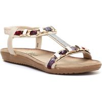 Lilley Womens White and Silver Plaited Sandal