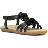 Lilley Womens Black and Pewter Plaited Sandal