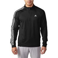 Adidas Mens 3 Stripes Quarter Zip Top (Logo on Chest)