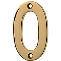 Wickes Door Number 0 Brass Plated