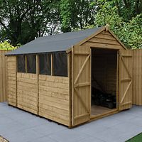 Wickes Overlap Pressure Treated Apex Shed Double Doors 8x10