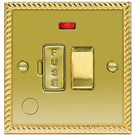 Wickes 13A Switched Fused Socket + LED Screwed Raised Plate Georgian Brass