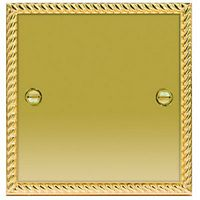 Wickes Blanking Plate 1 Gang Polished Georgian Brass Raised Plate