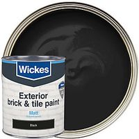 Wickes Exterior Brick & Tile Paint Matt Black 750ml