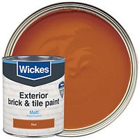 Wickes Exterior Brick & Tile Paint Matt Red 750ml