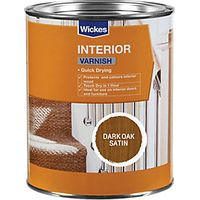 Wickes Quick Drying Interior Varnish Dark Oak Satin 750ml