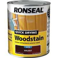 Ronseal Quick Drying Woodstain Satin Walnut 750ml