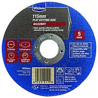 Wickes Masonry Flat Cutting Disc 115mm Pack 5