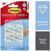 Command Mini Hooks with Strips Clear 6 Pack