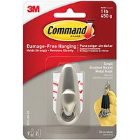 Command Forever Classic Small Metal Hook Brushed Nickel
