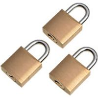 Wickes Padlock Brass 20mm 3 Pack