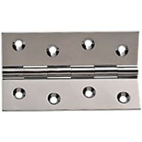 Wickes Butt Hinges Solid Brass Chrome Plated 100mm 2 Pack