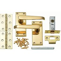 Wickes Rome Victorian Straight Latch Handle Set Polished Brass Finish