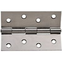 Wickes Butt Hinge Chrome Plated Steel 102mm 3 Pack