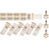 Wickes Bravo Latch Handle Set Satin Nickel Finish 3 Pack