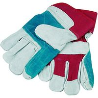 Wickes Superior Rigger Leather Gloves Grey/Red One Size