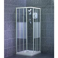 Wickes Corner Entry Shower Enclosure with White Frame