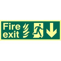 Fire Exit Arrow Down Glow In The Dark