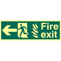 Fire Exit Arrow Left Glow In The Dark