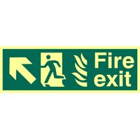 Fire Exit Arrow Diagonal Up Left Glow In The Dark