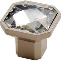 Crystal Glass Square Cupboard Knob 34mm