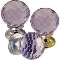 Purple Faceted Glass Cabinet Knobs