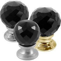 Black Faceted Glass Cabinet Knobs