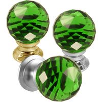 Green Faceted Glass Cabinet Knobs