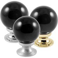 Black Round Glass Cabinet Knobs