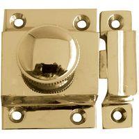 Turn Button Door Catch Polished Brass 56x36mm