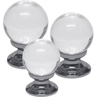 Clear Glass Ball Style Cabinet Knob Polished Chrome