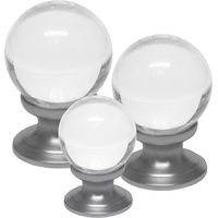 Clear Glass Ball Style Cabinet Knob Matt Chrome