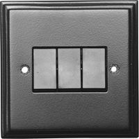 Black Hammered Finish 3 Gang Wall Switch 5123