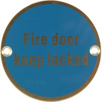 Stainless Steel 76mm Fire Door Keep Locked Door Sign