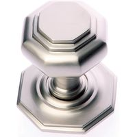 Satin Nickel Octagonal Front Door Knob 67mm
