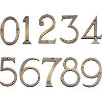 Brass Antiqued Finish Screw Fix Door Numbers 76mm 0-9