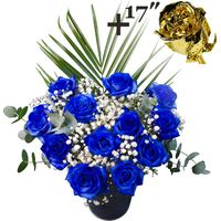 A single 17Inch Gold Dipped Rose surrounded by 11 Blue Roses
