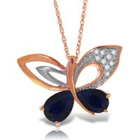 Sapphire and Diamond Butterfly Pendant Necklace 4.2ctw in 9ct Rose Gold