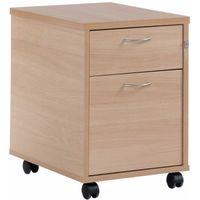 2 Drawer Mobile Pedestal, Woodland Beech